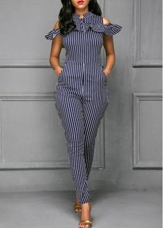 Stripe Print Cold Shoulder Pocket Jumpsuit on sale only US$37.74 now, buy cheap Stripe Print Cold Shoulder Pocket Jumpsuit at liligal.com