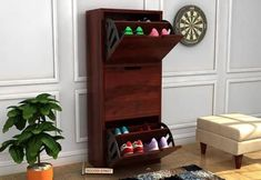 Get a Ferron Shoe Rack in Mahogany Finish.This shoe rack provide some extra space to manage your shoes properly. Shop shoe cabinets for your home at Wooden Street . Wooden Shoe Cabinet, Wooden Shoe Racks, Wooden Furniture, Living Room Furniture, Furniture Design, Hallway Furniture, Wooden Street, Teak, Projects To Try