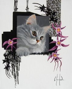 Chehade Studio Cat Art, Owl, Bird, Animals, Computer Mouse, Dogs, Cat Breeds, Paintings, Animaux