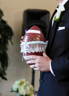 This is the most adorable way for my football player fiance to throw my garder! What a sentimental twist to long-living wedding tradition!
