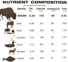 Bison Nutrient Composition Chart.