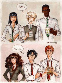 rumaan: I love this so much especially Malfoy's mug! Drawn by CaptBexx | Potter. Malfoy.