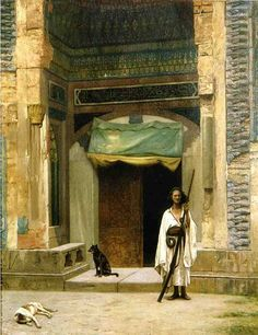 """""""Door of the Green Mosque,"""" 1880, Jean-Léon Gérôme (11 May 1824–10 Jan 1904), French painter and sculptor in the style known as Academicism. The range of his work included historical painting, Greek mythology, Orientalism, portraits and other subjects, bringing the Academic painting tradition to an artistic climax. In 1856, he visited Egypt for the first time. This would herald the start of many orientalist paintings depicting Arab religion, genre scenes and North African landscapes…"""