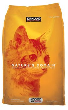 Kirkland Signature™ Nature's Domain Grain-Free Salmon Meal & Sweet Potato Formula for Cats is made with salmon meal and ocean fish meal for quality protein and omega-3 fatty acids. This formula offers great nutrition for overall health and vitality for all cats.