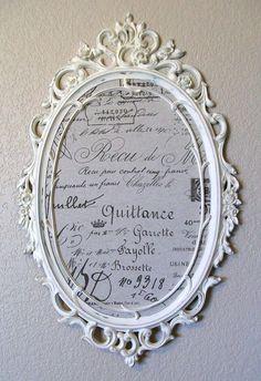 FRAMED BULLETIN BOARD-French Script Fabric-2 in 1 Baroque Ornate Vintage Framed Magnetic Chalkboard-Magnetic Fabric Memo Board-Wall Mirror