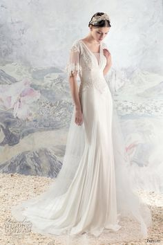 papilio 2016 bridal lace half sleeves v neckline grecian fit and flare wedding dress v back chapel train (1623l loire) mv