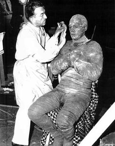 Jack Pierce and Tom Tyler, getting ready for The Mummy's Hand (1940)