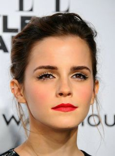 Bright lip and bold lashes || Emma Watson