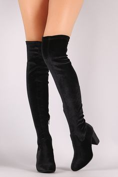 Crushed Velvet Chunky Heeled Over-The-Knee Boots