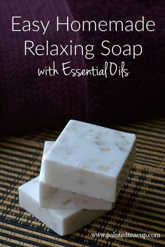 Easy Homemade Relaxing Soap with Essential Oils. This soap takes about 10 minutes to make and uses lavender and cedarwood essential oil.
