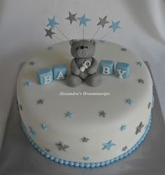 Made this blue silver white baby shower cake for a baby shower. - Made this blue silver white baby shower cake for a baby shower. Torta Baby Shower, Baby Shower Cakes For Boys, Baby Boy Cakes, Baby Shower Desserts, Baby Boy Shower, Babyshower Cake Boy, White Baby Showers, Star Baby Showers, Baby Boy Christening Cake