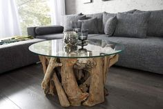 ✨ 💕 ✨ 💕 ✨ 💕 Design coffee table NATURE LOUNGE teak with round glass top side table Riess-Ambiente. Trunk Furniture, House Furniture Design, Resin Furniture, Furniture Ideas, Tree Trunk Coffee Table, Coffe Table, Coffee Table Design, Glass Top Side Table, Glass Dining Table