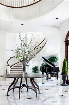Love the white paneled walls, dark stained stairs, greenery, and white tile floors