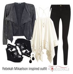 """Rebekah Mikaelson inspired outfit/TO"" by tvdsarahmichele ❤ liked on Polyvore featuring Frame Denim, ONLY, Steve Madden, Aéropostale and Kenneth Jay Lane"