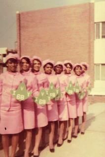 "Here is another picture from Soror Regina 8 of the "" 10 and 9 SWEET AKA's"" line sisters Fall '68 of the Darling Delta Epsilon chapter of Alpha Kappa Alpha Sorority, Inc.  on the Campus of Norfolk State University in Norfolk, Virginia!"