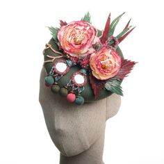 Vintage Style Floral Fascinator Green and Pink by MaorZabarHats