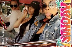 Classic ride: Kourtney and Khloe Kardashian and Kim Kardashian West took to their Snap accounts on Sunday to share first-person accounts of their day cruising around California