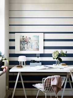 Inspiring & evocative design inspiration for room makeovers, this post takes the reader through 10 striped wallpaper design ideas for any room in the house. Decor Room, Diy Home Decor, Bedroom Decor, Bedroom Ideas, Striped Wallpaper Design, Wallpaper Designs, Painting Stripes On Walls, Wall Stripes, Painted Stripes
