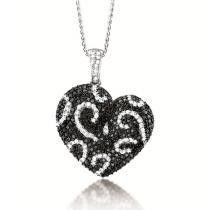 2.50ct Black & White Diamond Heart Pendant Necklace 14K White Gold