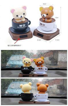 太阳能公仔 轻松小熊 摇头咖啡杯熊汽车装饰品摆件可爱车内饰品