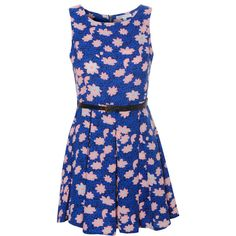 Blue And Coral Floral Belted Dress ($31) ❤ liked on Polyvore