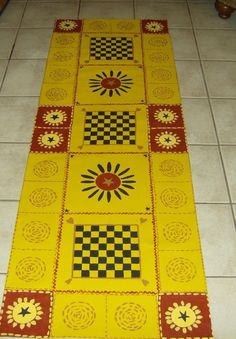 FLOORCLOTH  COUNTRY PRIMITIVE  hand painted by countryfloorcloths, $85.00