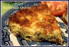 """This """"Crustless Buttermilk Quiche"""" is a great quiche you can whip up in no time and it's good served for breakfast, lunch, brunch. Quiche Recipes, Egg Recipes, Brunch Recipes, Low Carb Recipes, Cooking Recipes, Yummy Recipes, Brunch Food, Fall Recipes, Finger Foods"""