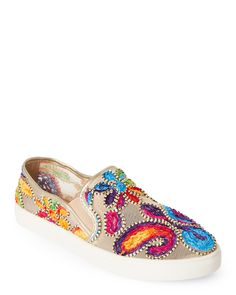 4cdb4f3fdf50 Wanted Gold Renoir Embroidered Mesh Slip On Sneakers Renoir