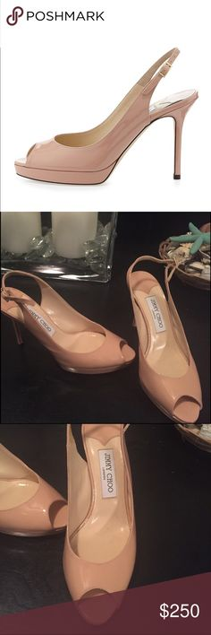 Jimmy Choo Nina Slingback Pump These beautiful shoes are in excellent condition! There is a small scuff on the outside of the left shoe, but otherwise no scratches or scuffs. Sold out online and in stores!! Jimmy Choo Shoes