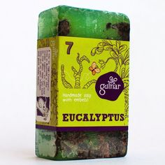 Eucalyptus Handmade Soap. Eucalyptus oil helps soothe dry or aging skin, eases lines and wrinkles, and fights bacteria too. It also adds antiseptic properties to this soap, and helps keep your skin clean as well as healthy. This is soap is made from eucalyptus oil and leaves, purified water and a glycerine base.