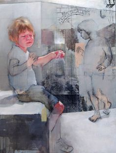 "Saatchi Art Artist: Pilar Lopez Baez; Airbrush 2014 Painting ""El otro lado del muro"""