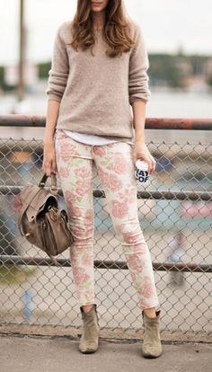 neutral, floral pants