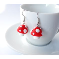Mushroom earrings dangle bright red with white dots autumn kawaii... (£13) ❤ liked on Polyvore featuring jewelry, earrings, dot earrings, white earrings, polka dot jewelry, polka dot earrings and red jewelry