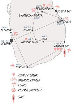 carte-srilanka-itinerairesri lanka sans talon, bon site Plus Borneo, Travel Guides, Travel Tips, Travel Destinations, Shri Lanka, Sri Lanka Itinerary, Arugam Bay, Destination Voyage, Blog Voyage