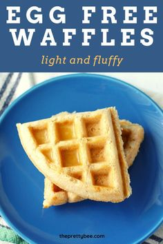 Perfectly fluffy inside and crisp outside, this waffle recipe is the BEST! An easy egg free and vegan breakfast. Easy Waffle Recipe No Milk, Waffle Recipe From Scratch, Eggless Waffle Recipe, Eggless Recipes, Waffle Recipes, Egg Free Recipes, Allergy Free Recipes, Baby Food Recipes, Breakfast Waffles
