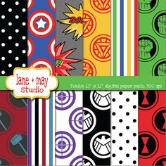 avengers superhero themed digital scrapbook papers by lane + may, $7.50