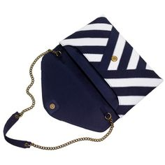Invitation clutch in ribbon stripe ($98) ❤ liked on Polyvore