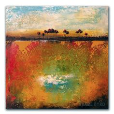 "12""x12"" oil and cold wax abstract landscape painting by Jaime Byrd"