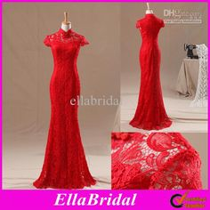 Wholesale 2013 Elegant Red Lace Sheath Column High Neck Short Sleeve Cheong-sam Wedding Dresses Bridal Gowns Dress Cheongsam Ella0737, Free shipping, $123.2-184.8/Piece | DHgate