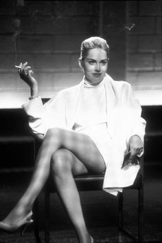 "Sharon in iconic role...""Basic Instinct"" as femme fatale...Catherine Tramell"