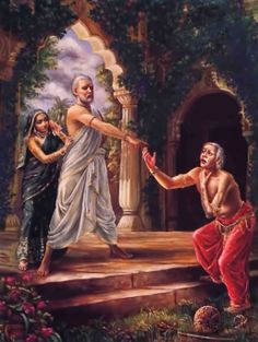 Marital spat with Sukracarya, Devayani's father, caught between, but later Devayani achieves liberation by the important spiritual realizations gained by her husband Yayati. http://vedabase.net/sb/9/19/en