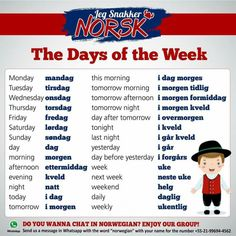Norsk - Days of the Week Norwegian Words, Norwegian Vikings, Norway Language, Norway Travel, Norway Vacation, Proverbs Quotes, Scandinavian Countries, Fjord, Thinking Day