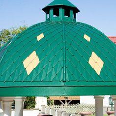 rautenförmiger Dachziegel / Metall / rot / schwarz