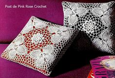 \ PINK ROSE CROCHET /: Almofada Quadrado com Borboletas em Crochê Abacaxis