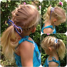French braid ponytail with a ribbon on my youngest girl for her cousin's birthday party today. Follow me @jennishairdays on Instagram for more braid photos.