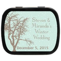Winter Tree Personalized Wedding Mint Tins, a keepsake treat all your guests will cherish! #winterwedding #whitewedding #favors