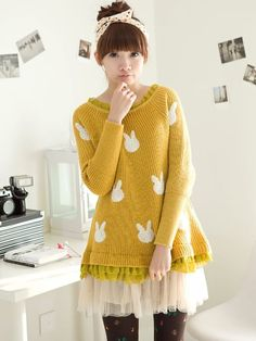 Korean Style Chiffon Ruffle Hem Knitted Dress- This is adorable, but I think I'd look a little crazy wearing it