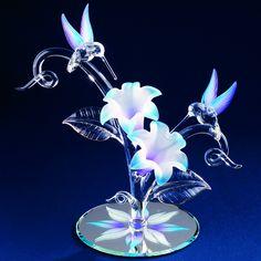 Glass Baron Blue Hummingbird Pair Figurine