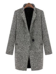 Womens Houndstooth Tweed Wool Long Sleeve Long Coat