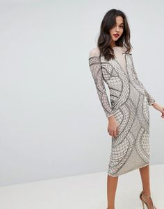 Buy ASOS EDITION Embellished Ergonomic Bodycon Midi Dress at ASOS. With free delivery and return options (Ts&Cs apply), online shopping has never been so easy. Get the latest trends with ASOS now. Blush Cocktail Dress, Latest Dress, Dress Me Up, Pretty Outfits, Dress Outfits, Evening Dresses, Short Dresses, Kimono, Clothes